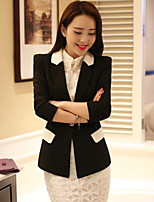 Women's Patchwork White/Black/Yellow Blazer , Casual/Work Shirt Collar Long Sleeve Pocket