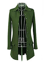 Women's Solid Black/Green Trench Coat , Casual Long Sleeve Cotton