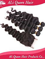 Ali Queen Hair Products 3Pcs 6A Malaysian Hair Bouncy Wave With 1Pcs 4*4 Swiss Lace Closures 100% human hair