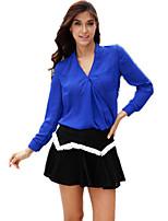 Women's Sexy Casual Cute Plus Sizes Inelastic Long Sleeve Regular Blouse (Chiffon)