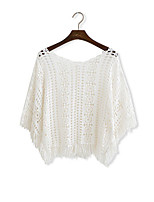 Women's White Pullover , Casual ½ Length Sleeve