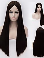 Europeiske og amerikanske høy kvalitet med høy temperatur sort silke lang rett hår parykk mote jente nødvendig