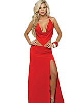 Women's Sexy Cut Out Clubwear Dancing Dress Stretchy Sleeveless Maxi Dress Evening Gown Halter Slip Dress