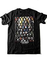 JOGAL Men's Casual/Sport Print Short Sleeve Regular T-Shirt (Cotton/Polyester)