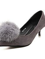 Women's Shoes Fleece Kitten Heel Pointed Toe/Closed Toe Pumps/Heels Casual Black/Gray