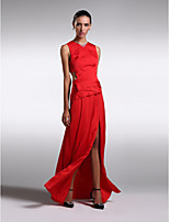 Formal Evening Dress - Ruby Sheath/Column Jewel Floor-length Satin