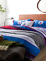 H&C 100% Cotton 800TC Duvet Cover Set 4-Piece Red,White And Blue Stripes Joint OT4-015