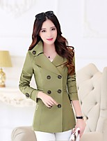 Women's Solid Green/Beige Trench Coat , Casual/Work Long Sleeve Cotton/Microfiber