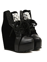 Women's Shoes Fleece Platform Heels/Platform/Fashion Boots/Round Toe/Closed Toe Pumps/Heels/Boots Casual Black/White