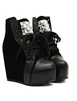 Women's Shoes Fleece Platform Heels/Platform/Fashion Boots/Round Toe/Closed Toe Pumps/Heels/Boots Casual Black/White