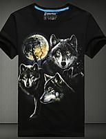 Men's European Style 3D Wolf Printing T-Shirt (Cotton)