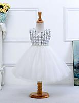 Flower Girl Dress - Satyna/Tiul Bez rękawów - Księżniczka Tea-długość