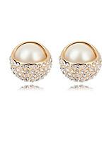Women's European Style Fashion Beauty Rhinestone Pearl Alloy Stud Earrings