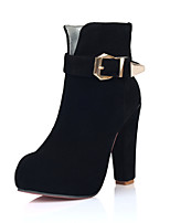 Women's Shoes Chunky Heel Fashion Boots/Round Toe Boots Office & Career/Dress/Casual Black/Brown/Yellow