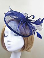 Women Feather / Satin Vintage / Party Hair Clip Hat Headpiece