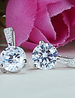 Women's Silver Shining Simple Stud Earrings With Cubic Zirconia