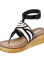 Chaussures Femme - Décontracté - Noir / Marron / Blanc - Talon Compensé - Bout Ouvert - Sandales - Cuir