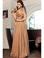 Formal Evening Dress - Brown Sheath/Column One Shoulder Floor-length Polyester