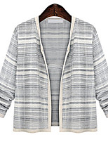 Women's Vintage Sexy Casual Cute Plus Sizes Inelastic Thin Long Sleeve Cardigan (Linen)