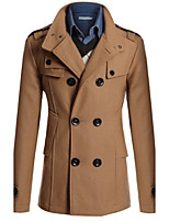 Men's Casual/Formal Pure Long Sleeve Long Coat (Cotton Blend)