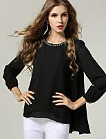 Women Fashion Loose Bead Long Sleeve Asymmetric Pleat Large Plus Size Blouse Shirt Tops