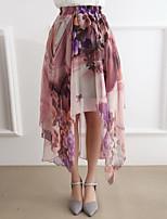 Women's Print Skirts , Casual/Print Midi Ruched
