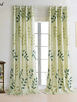 (One Panel)Country Printing Natural Linen Green Life Leaves Room Darkening Curtain