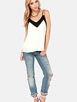 Women's Sexy Casual Cute Plus Sizes Micro Elastic Sleeveless Regular Shirt ( Cotton Blends)