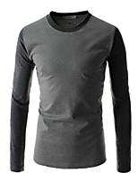 Men's Casual Long Sleeve Regular T-Shirt (Cotton)