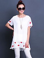 Women's Print White/Black Blouse , Round Neck Short Sleeve