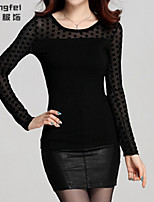 Women's Polka Dot/Solid Black Blouse , Round Neck Long Sleeve