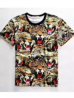 Men's High Quality Creative Funny Animal Summer Breathable 3D Style T-Shirt——The leopard