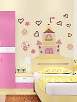 Wall Stickers Wall Decals Style Cartoon Pink Castle PVC Wall Stickers