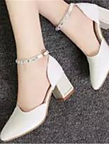 Women's Shoes Chunky Heel Pointed Toe Pumps/Heels Dress White/Beige
