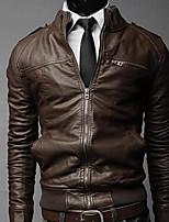 Men's Long Sleeve Jacket , Cotton Blend / PU Casual / Work Pure