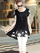 Women's Casual Print Cute Plus Sizes Micro-elastic Short Sleeve Above Knee Maternity Dress (Cotton)