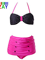 ZAY Women's Sexy High Waist Halter Dot Bikinis Set