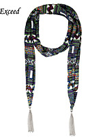 D Exceed Women's Eurpean Multipurpose Scarves Band Wind Striped Chiffon Scarf Jewellry with Tassles