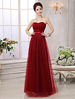 Formal Evening Dress - Burgundy A-line Sweetheart Floor-length Lace/Tulle