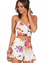 Women's Summer Cool Fashion Print Two Piece Suit(Vest&Shorts)