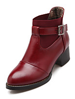 Women's Shoes Chunky Heel Fashion Boots/Round Toe Boots Dress/Casual Black/Yellow/Red/Beige