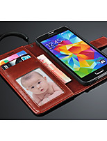 For Samsung Galaxy Case Card Holder / Wallet / with Stand / Flip Case Full Body Case Solid Color PU Leather Samsung S5