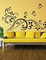 3D Wall Stickers Wall Decals Style Butterfly And Flower Rattan PVC Wall Stickers