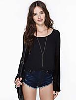 Women's Casual Micro-elastic Long Sleeve Regular T-shirt (Chiffon)