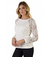 Women's Casual Micro-elastic Long Sleeve Regular T-shirt (Lace) (More Colors)