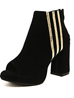 Women's Shoes Chunky Heel Peep Toe Pumps/Heels Casual Black