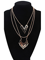 Women's European Style Fashion Multilayer Hollow Double Heart Alloy Necklace