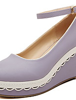 Women's Shoes Patent Leather Wedge Heel Wedges/Round Toe Pumps/Heels Casual Green/Purple/Beige