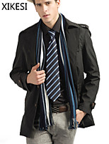 Men's Casual/Work Pure Long Sleeve Regular Trench coat (Cotton Blend) XKS7C18