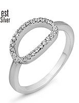 Europe and the United States Fan Circle Contracted Silver Diamond Ring J064